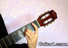 Аккорд A# или B на гитаре