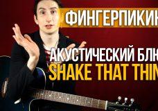 Как играть фингерпикинг акустический блюз на гитаре — Shake That Thing — Уроки игры на гитаре