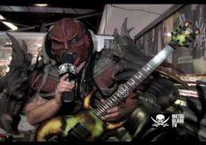 GWAR's Flattus Maximus shows off his custom Schecter guitar