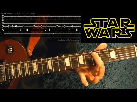 STAR WARS The Force Awakens ( Han and Leia's Theme ) Guitar Lesson