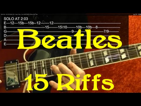 THE BEATLES 15 Great Riffs Guitar Lesson